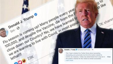 فيسبوك يحذف منشور ترامب وتويتر يخفي المنشور تفاصيل